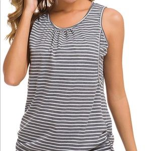 Gray and White Striped Nursing Maternity Tank Top